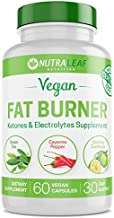 NutraLeaf Vegan Fat Burner for Women and Men, Weight Loss Supplement w/Green Tea Extract, Increases Energy & Metabolism, 60 Natural Plant-Based Diet Pills
