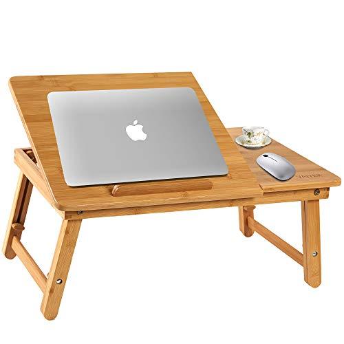 Vaiyer Mesa de escritorio plegable de bambú para el desayuno, bandeja de cama con cajón superior inclinable para surf, lectura, escritura, comer, escritorio de piso