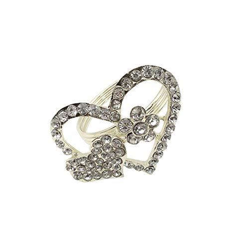 GWHW 6 servilleteros con diamantes de imitación, soporte de servilleta en forma de corazón de metal para servilletas, servilletas, anillos para bodas, fiestas, cenas, decoración de mesa