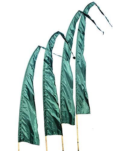 DEKOVALENZ Balifahnen-Stoff SANUR |mit herzförmiger Spitze | Umbul Asien-Fahnen | Fahnenlänge: 4 Meter | Farbe: Dunkelgrün