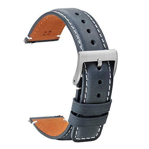 TStrap Leder Uhrenarmband 20mm - Weich Blau Quick Release Uhrenarmbänder Ersatz - Sport Uhrenarmband für Herren Damen - Smartwatches Armband mit Silber Schließe Haspe - 18mm 20mm 22mm