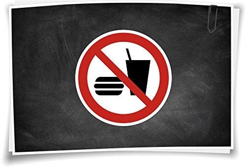 Medianlux Verbotszeichen P022 Essen und Trinken verboten Verbot Aufkleber Piktogramm, 2cm - 12 Stück