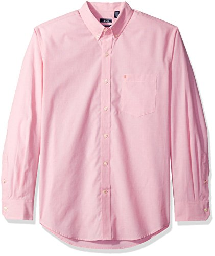 IZOD mens Button Down Long Sleeve Stretch Performance Solid (Discontinued) shirt, Rapture Rose, Medium US