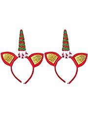 FRCOLOR 2 Unids Unicornio Diadema Brillo Navidad Elf Tocado Fiesta de Vacaciones Aro de Pelo para Niños Adultos Unicornio Navidad Fiesta de Cumpleaños Sombreros