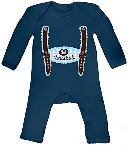 ShirtStreet Wiesn Baby Strampler Langarm Schlafanzug Jungen Mädchen Oktoberfest - Junge Lederhose Lausbub, Größe: 3-6 Monate,Nautical Navy