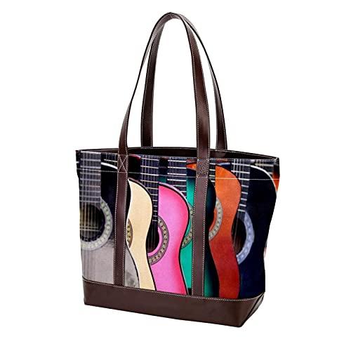 NaiiaN Handtaschen Einkaufstasche für Mutter Frauen Mädchen Damen Student Geldbörse Shopping Umhängetaschen bunte Gitarre Light Weight Strap
