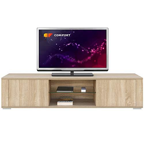 COMIFORT Mueble de TV - Mesa de Salon Moderno, Puerta con Sistema Click, Estante de Cristal Templado, Muy Resistente, Fabricado en Europa, Color Roble