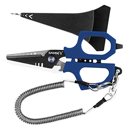 SAMSFX Fishing Braid Line Scissors Shears with Kraton Handle, Arrives with Sheath and Lanyard