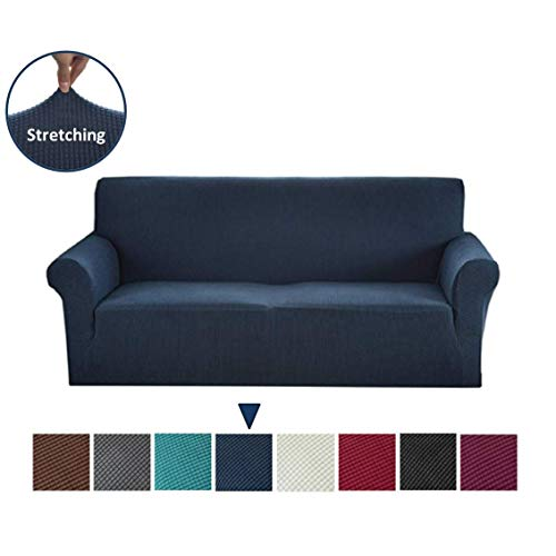 Argstar Jacquard XL Sofa Slipcover, Navy Blue Stretch Oversized Couch Slip Cover, Spandex Furniture Protector for Large 3 Cushion Seater Living Room, Machine Washable