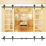 Sistema de puertas correderas, juego de guías de deslizamiento para puerta doble, de acero al carbono, kit de accesorios deslizantes para doble puerta de base, 8 metros