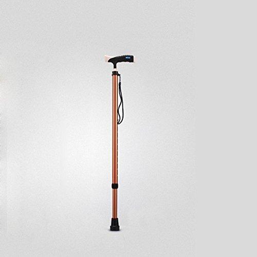Lmzyan Aluminium en alliage à brosse rétractable, réglable Hauteur 73-96cm Anti-Skid Walking Sticks pour personnes âgées et handicapées , Or