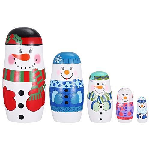 Artibetter 1 Satz Holz Russland Puppen 5 Schichten Schneemann Nistpuppen Stapel Puppen Winterdekoration Festival Weihnachtsfeiertag Geburtstagsgeschenk