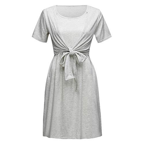 Mxssi Frauen Mutterschaft Schwangere Kleid Stillen Baby Nachthemd Einfarbig Stillen Nachtwäsche...