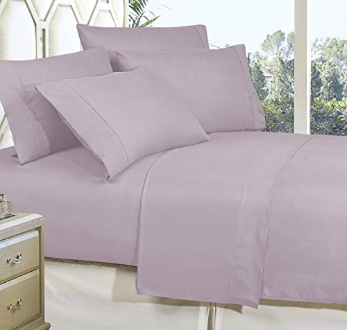 CELINE LINEN Best, Softest, Coziest Bed Sheets Ever! 1800 Thread Count Egyptian Quality Wrinkle-Resistant 4-Piece Sheet Set with Deep Pockets 100% Hypoallergenic, King Lilac