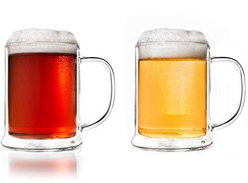 Creano Vaso de cerveza de doble pared de 500 ml, vidrio térmico, jarra de cerveza, jarra de cerveza (2 x 500 ml)