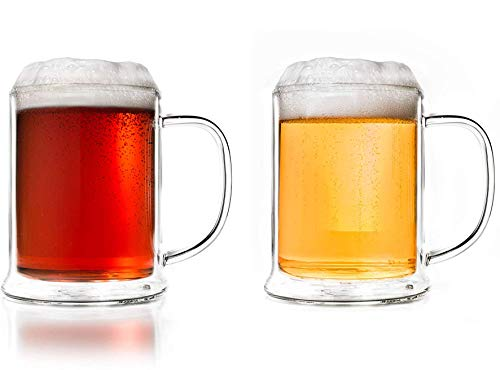 Creano doppelwandiges Bierglas 500ml, Thermoglas Beerglass, Bierkrug, Humpen (2X 500ml)