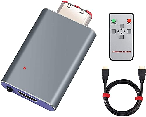 GC auf HDMI Konverter LiNKFOR GC HDMI Adapter für den GC mit GCVideo Software, Plug & Play, Unterstützt 2x Line-Doubling und enthält Fernbedienung