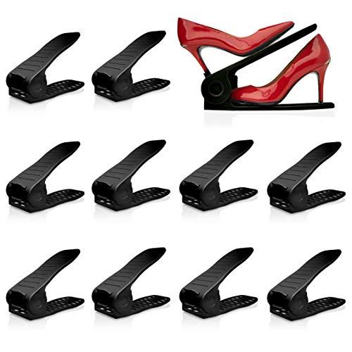 Livin' Well Organizador de zapatos ajustable – Zapatero 'apilable a zapato' para armarios, ahorro de espacio organizador de zapatos y almacenamiento, Pack of 10 Black, 1