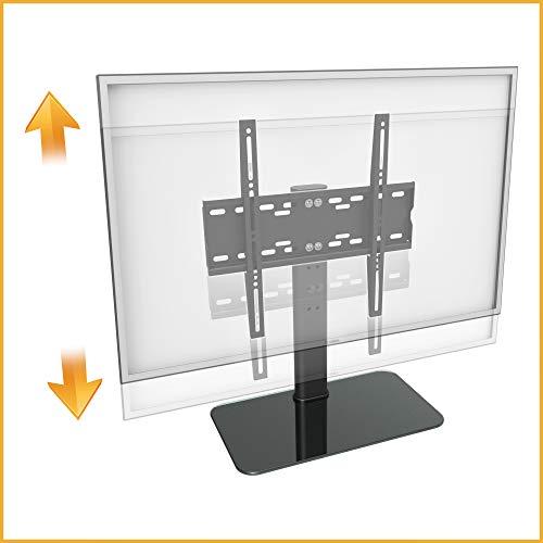 RICOO FS304-B, TV-Ständer, 30-55 Zoll (ca. 76-140cm), Fernseh-Halterung Fernseher-Stand, Fernseh-Ständer, VESA 200x200-400x400, Schwarz Glas
