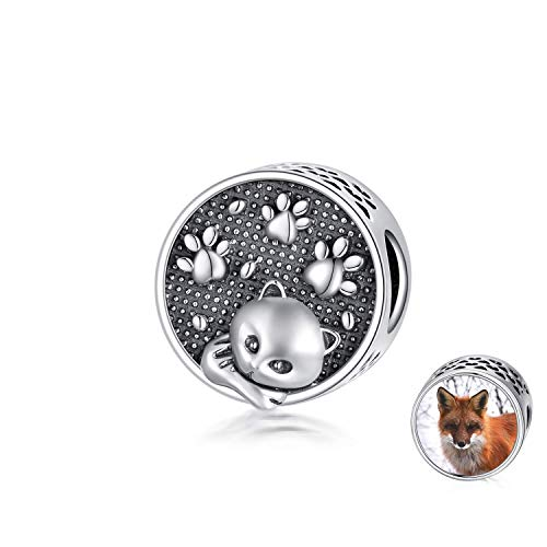 LONAGO 925 Sterling Silver Personalized Photo Charm Fit Pandora Charm Bracelet Cute Fox Custom Picture Bead Charm for Women