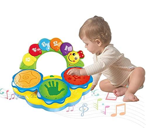 Felly Jouet Bebe 1 an, Tambour Musicale Jouet pour Les bébés, Jouet de l'éducation précoce Jouet Musical Tambour de Jeux Jouet pour Les Enfants DE 1,2 et 3 Ans-Lumières et Sons différents(Jaune)