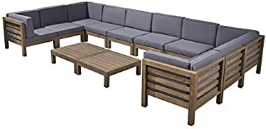 Great Deal Furniture Annabelle Outdoor U-Shaped Sectional Sofa Set with Coffee Tables - 12-Piece 10-Seater - Acacia Wood - Outdoor Cushions - Gray and Dark Gray
