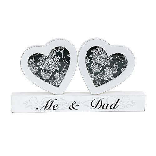 Double cœur Cadre Photo – Une Idée de Cadeau idéal pour Dispalaying Vos Souvenirs Les Plus précieux – Disponible pour Maman ou Papa, Bois Dense, Naturel, Me and My Mum