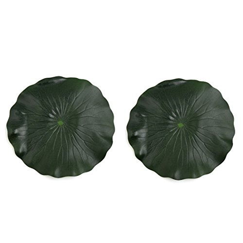 sourcing map 2pcs Mousse Vert Feuille pour Lotus Flottant Décor étang Aquarium Ornement végétal 28cm diamètre