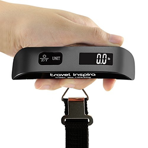 Digital Luggage Scale, 110LB Portable Handheld Baggage Scale for Travel, Suitcase Scale with Hook, Battery Included with Overweight Alert, White Backlight LCD Display - Black