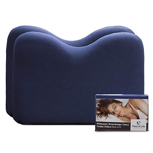Hochwertiger Kissenbezug Doppelpack (2er Set, Nachtblau Uni) für Nackenstützkissen speziell NuMOON – Baumwolle, Double Jersey, guter Fit, bügelfrei, 3 Jahre Garantie, Kissenhülle mit Reißverschluss