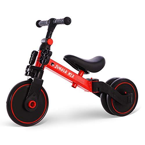 BIWOND Triciclo Jungle Mix (3 Modos; Andador, Triciclo y Bicicleta, Ruedas Anchas, Manillar Antideslizante, Pedales Desmontables, Diferentes Posiciones) - Rojo
