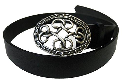 Dark Dreams Gothic Mittelalter schwarzer Gürtel Ledergürtel mit Gürtelschnalle Keltische Knoten in altsilber, Länge:90