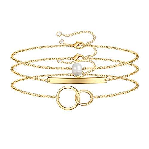 Dainty Layered Bracelets for Women, 14K Gold Filled Cute Layering Circle Pearl Bracelet Handmade Gold Layered Bar Chain Bracelets for Women Jewelry(Bar & Circle & Pearl)