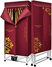 HealingHands Portable Electric Household Cloth Dryer Energy Efficient Intelligent Anion Quick Dry, Remote Control, Adjustable timer, 1600W Apartments and Home, AutoPower (Maroon)