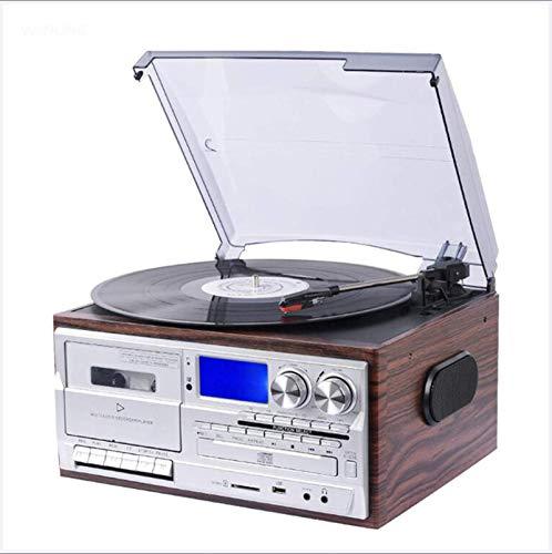 GaoF Tocadiscos Bluetooth, CD, Cassette, Radio Am/FM y Entrada Auxiliar con Puerto USB y codificación SD, Altavoz estéreo Incorporado, Reproductor de música Independiente