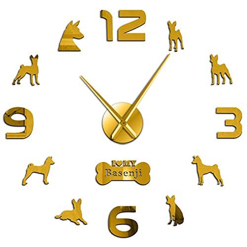hufeng Reloj de pared Love My Basenji African Terrier Reloj de pared DIY Wall Art Pegatinas perro mascota Decoración del hogar León africano Sabueso oro 47 pulgadas