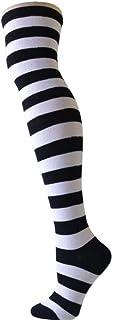 FXC - Calcetines largos para mujer, diseño de rayas, para invierno, otoño negro blanco y negro