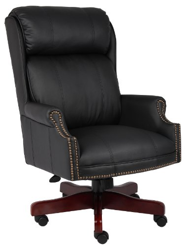 Boss Office Products Traditional High Back CaressoftPlus Chair with Mahogany Base in Black