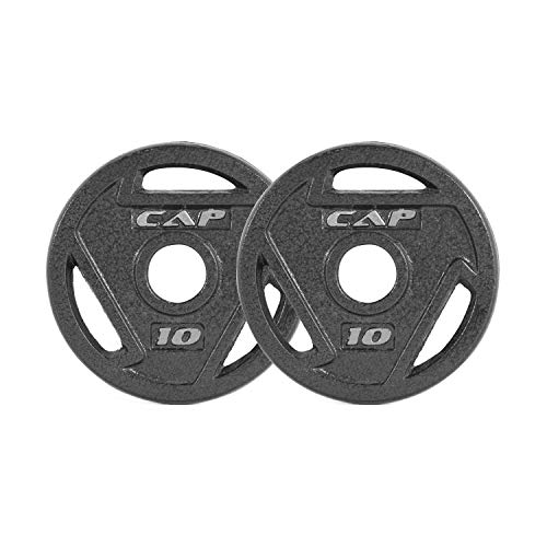 CAP Barbell Black 2-Inch Olympic Grip Plate, 10-Pounds, Pair