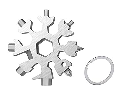 18-in-1 Snowflake Multi-Tool, Snowflake Tool Stainless Steel Card Outdoor Travel Portable Snowflake Keychain Screwdriver Bottle Opener EDC Environmental Tool (Silvery)