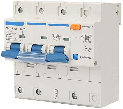 Disyuntor doméstico Disyuntor en miniatura DZ47LE-125 Disyuntor en miniatura Protección contra fugas Interruptor de aire Interruptor de corriente 3P AC 230V 100A-32A-63A