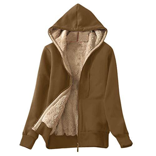 Lulupi Jacke Damen Gefütterte Sweatjacke Classic Hoodie Sweatshirtjacke mit Kapuze Warm Fleecejacke Teddyfutter Kapuzenjacke
