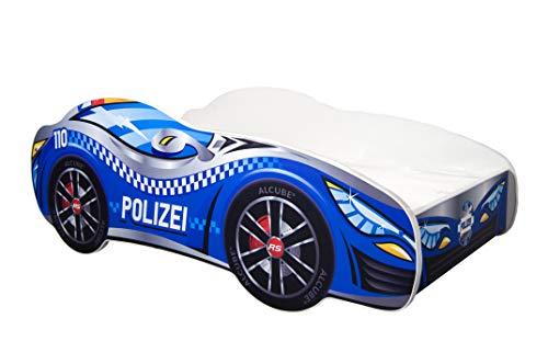 Kinderbett Autobett Pkw Polizei 140 x 70 cm Lattenrost und Matratze MDF beschichtet