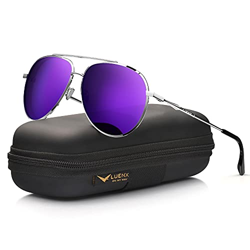 Women's Purple Lens Aviator Shades with UV400 Protection