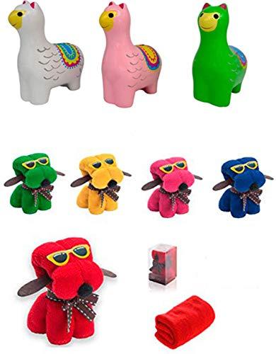 DISOK Lote 30 Toallas Perro + 3 Huchas Llamas Cerámica Detalle de Boda en Caja de Regalo - Regalos Cumpleaños, Detalles Comuniones