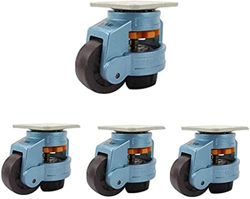 4 Ruedas para Muebles Ruedas industriales 40F / 60F / 80F / 100F / 120F nivelación de Ajuste Horizontal - Equipo Adecuado Ajustable