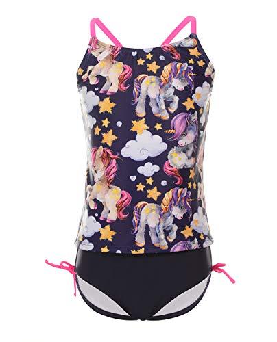 iDrawl Kinder Bikini Set Schwarz Einhorn Badeanzug Mädchen Top+Shorts Sommer Tankini Strandwear UV Shutz,Größe S