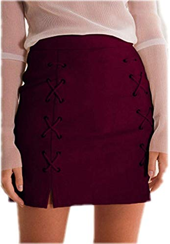 katiewens Women's Classic High Waist Lace Up Bodycon Faux Suede A Line Mini Pencil Skirt Wine Red