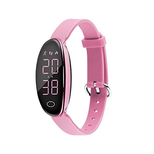 iGANK Pedometer Watch Simple Fitness Tracker Walking Pedometers Step Counter Calorie Counter for Women Kids,No App Required (Pink)