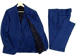 [ガブリエレパジーニ] ラルディーニ社 イタリア製 サキソニー 3ピース セットアップ スーツ シングル 2B アンコン ブレザー テーラードジャケット ベスト パンツ ブルー